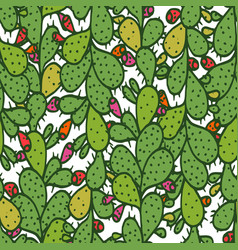 Seamless pattern with green prickly pear cactus vector