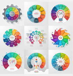 set 9 circle infographic templates with 11 vector image
