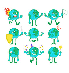 Set collection cartoon characters planets vector