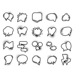 set hand drawn speech bubble icons with vector image