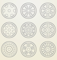 Set of icons of a car rims Thin line style vector image