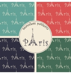 set of seamless pattern with eiffel tower vector image