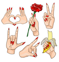 Set of woman hands with red nails vector