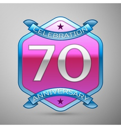 Seventy years anniversary celebration silver logo vector