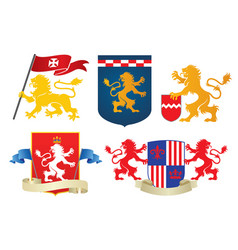 simple heraldic lion set vector image