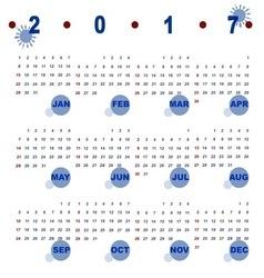 Simple template of 2017 calendar vector image