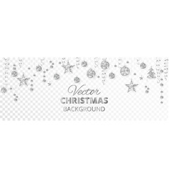 sparkling christmas glitter ornaments silver vector image