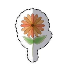 Sticker faded sunflower floral icon design vector