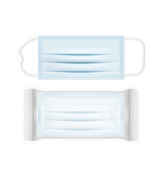 surgical mask with ear straps and plastic pack vector image