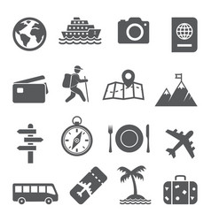 travel and tourism icon set on white background vector image