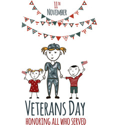 veterans day greeting card with kids vector image