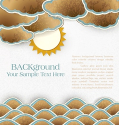 Vintage background with sea clouds and sun on card vector