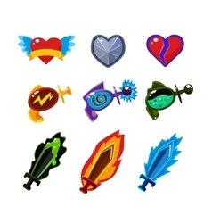 Weapon and Icons Set for Games vector
