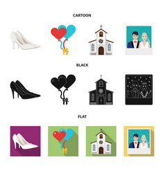 Wedding and attributes cartoon flatoutlineblack vector