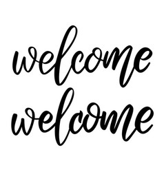 welcome lettering phrase on white background vector image