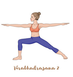Women silhouette warrior 2 yoga pose vector