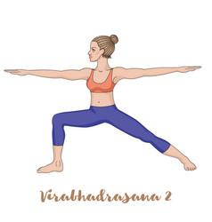 women silhouette warrior 2 yoga pose vector image