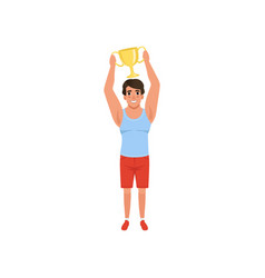 young male athlete holding trophy over his head vector image