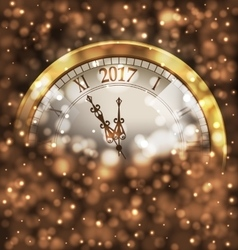 2017 New Year Midnight Glowing Background with vector image vector image