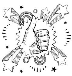 doodle pop thumbs up vector image vector image