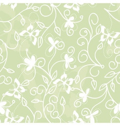 floral pattern with butterflies vector image vector image
