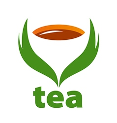 logo tea and green leaves vector image