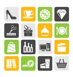 Silhouette Shopping and mall icons vector image