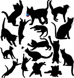 Cat and kitten silhouettes vector image vector image