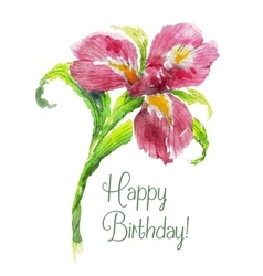 Greeting card Happy Birthday with red watercolor vector image