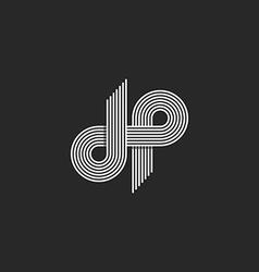 Logo dp letter monogram offset thin line style vector