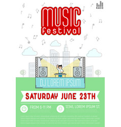 music festival dj with console in megapolis vector image