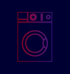 washing machine sign line icon with vector image