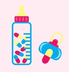 baby pacifier pillls vector image vector image