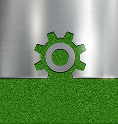 Contour gear on grass background vector image vector image
