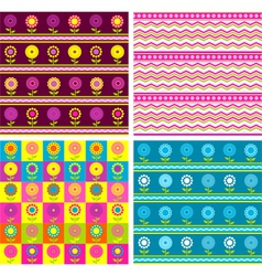 Set of four seamless floral backgrounds vector image vector image