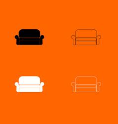 sofa black and white set icon vector image