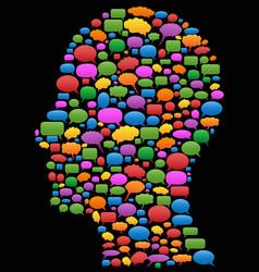 speech bubbles in head profile vector image vector image