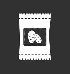white icon on black background potato seeds vector image vector image