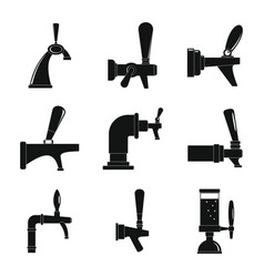 beer tap icons set simple style vector image