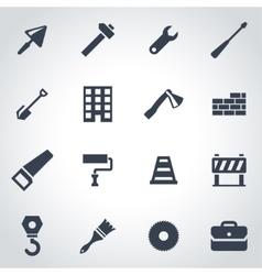 black construction icon set vector image vector image