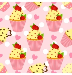 Candy pattern with cupcake and heart vector image vector image
