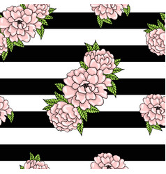 floral pattern of pink peonies with leaves on a vector image vector image