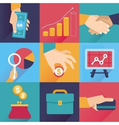 icons in flat style - finance and business vector image