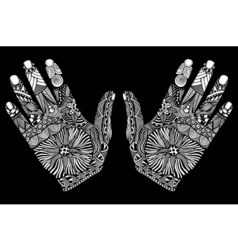 palm hand drawn zentangle vector image