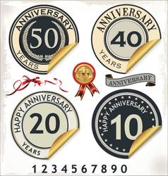 Set of anniversary labels vector