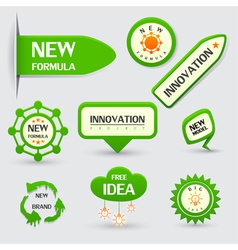 set of green new formula labels vector image vector image