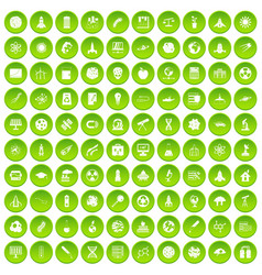 100 space icons set green circle vector