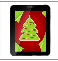 Abstract design Tablet with Christmas background vector image