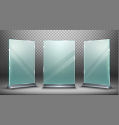 Acrylic display glass plate with metal holder vector