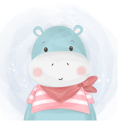 Adorable hippo vector